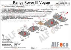 Защита радиатора Land Rover Range Rover III Vogue 2002-2013 - фото 8212