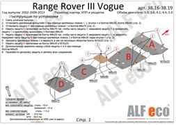Защита картера Land Rover Range Rover III Vogue 2002-2013